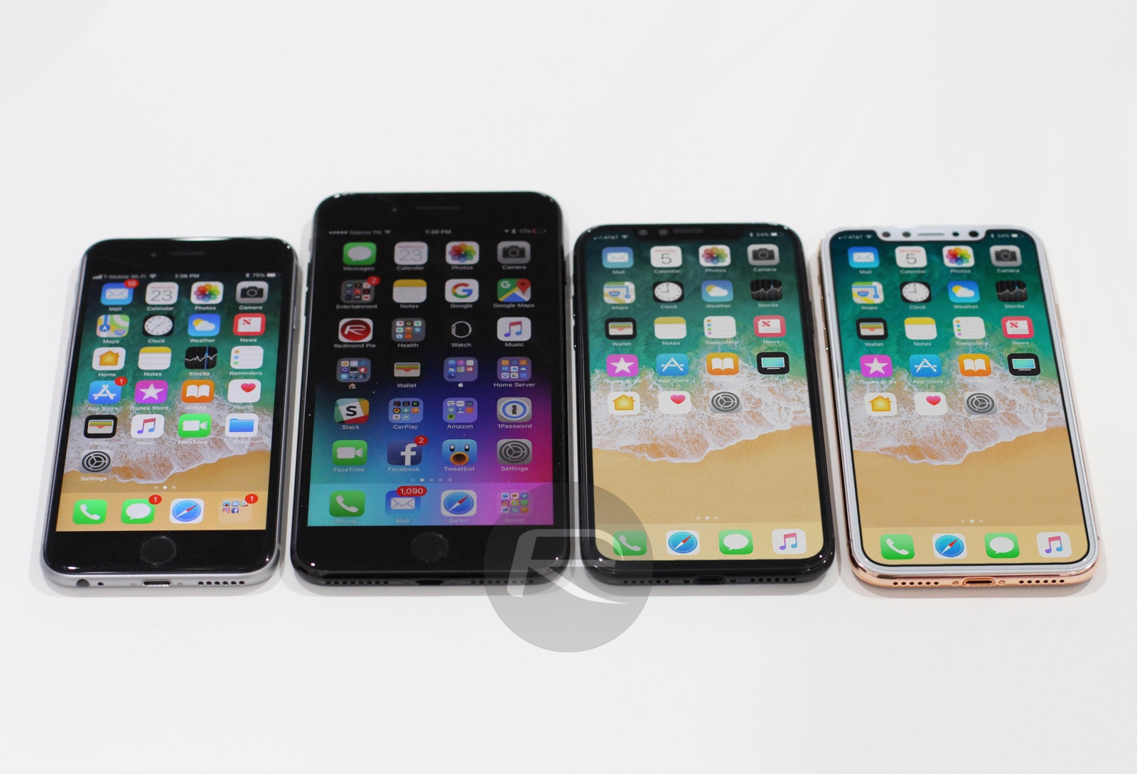 Comparative image of the model of the iPhone 8 / Edition with all the other models of iPhone