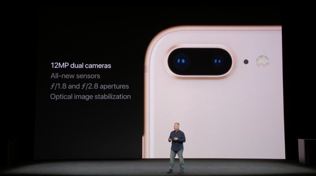 Aperturas de la cámara doble del iPhone 8