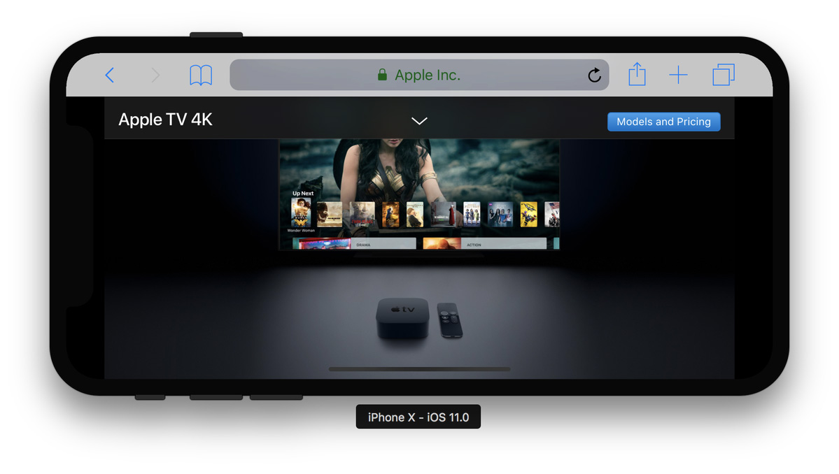 Web del Apple TV cargada en un iPhone X
