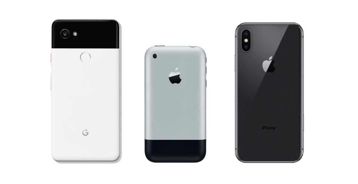 Google Pixel 2 compared to the iPhone X and the original iPhone