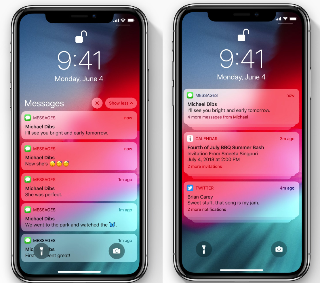 Agrupando notificaciones en iOS 12