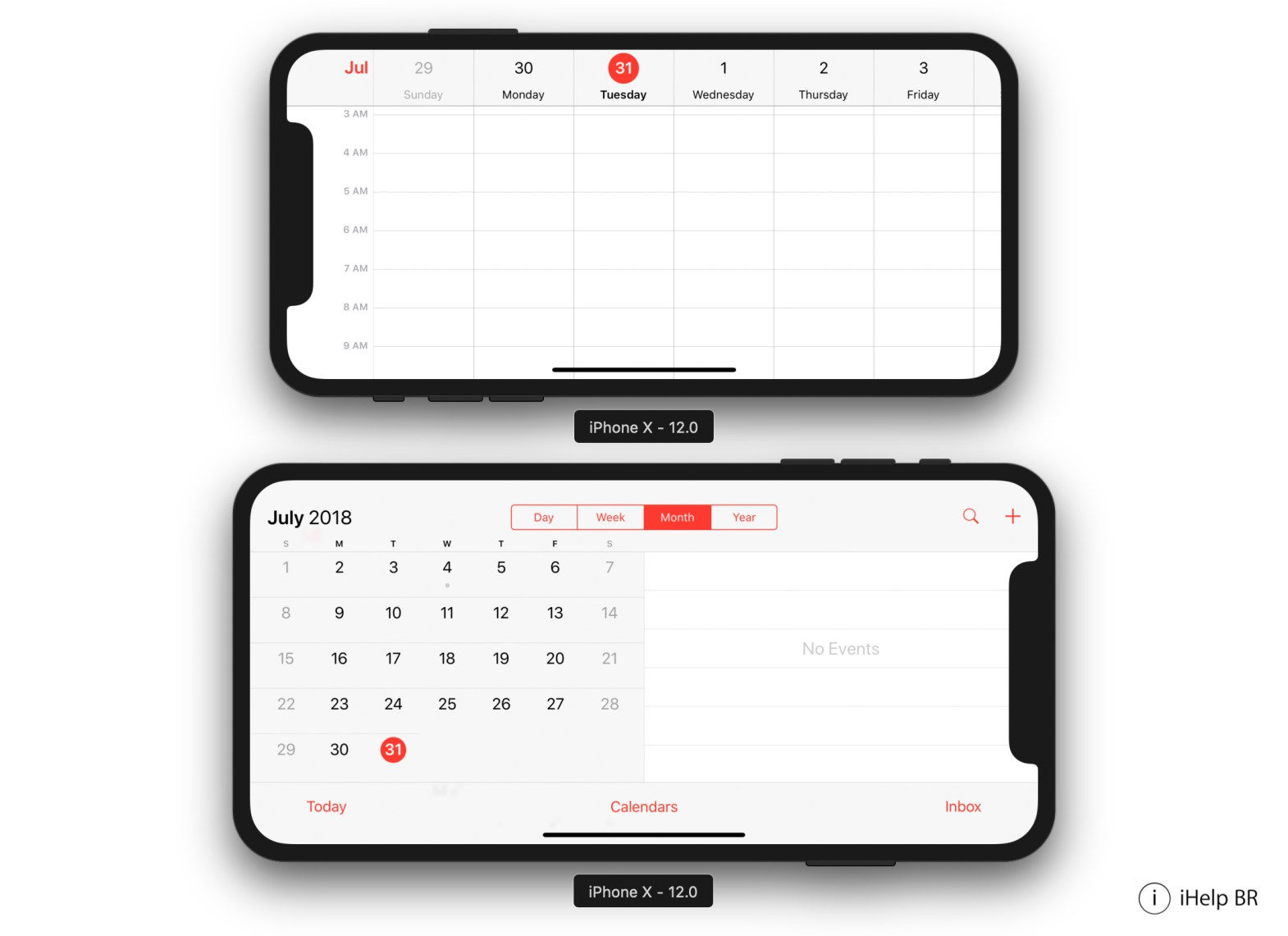 App de Calendario en el hipotético iPhone X Plus