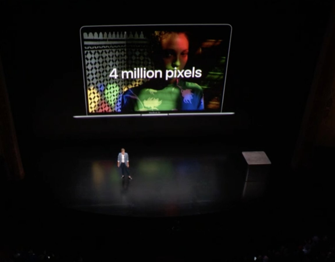 Color de pantalla Retina en el Evento de presentación del iPad Pro todo pantalla, del Mac mini y del MacBook Air Retina