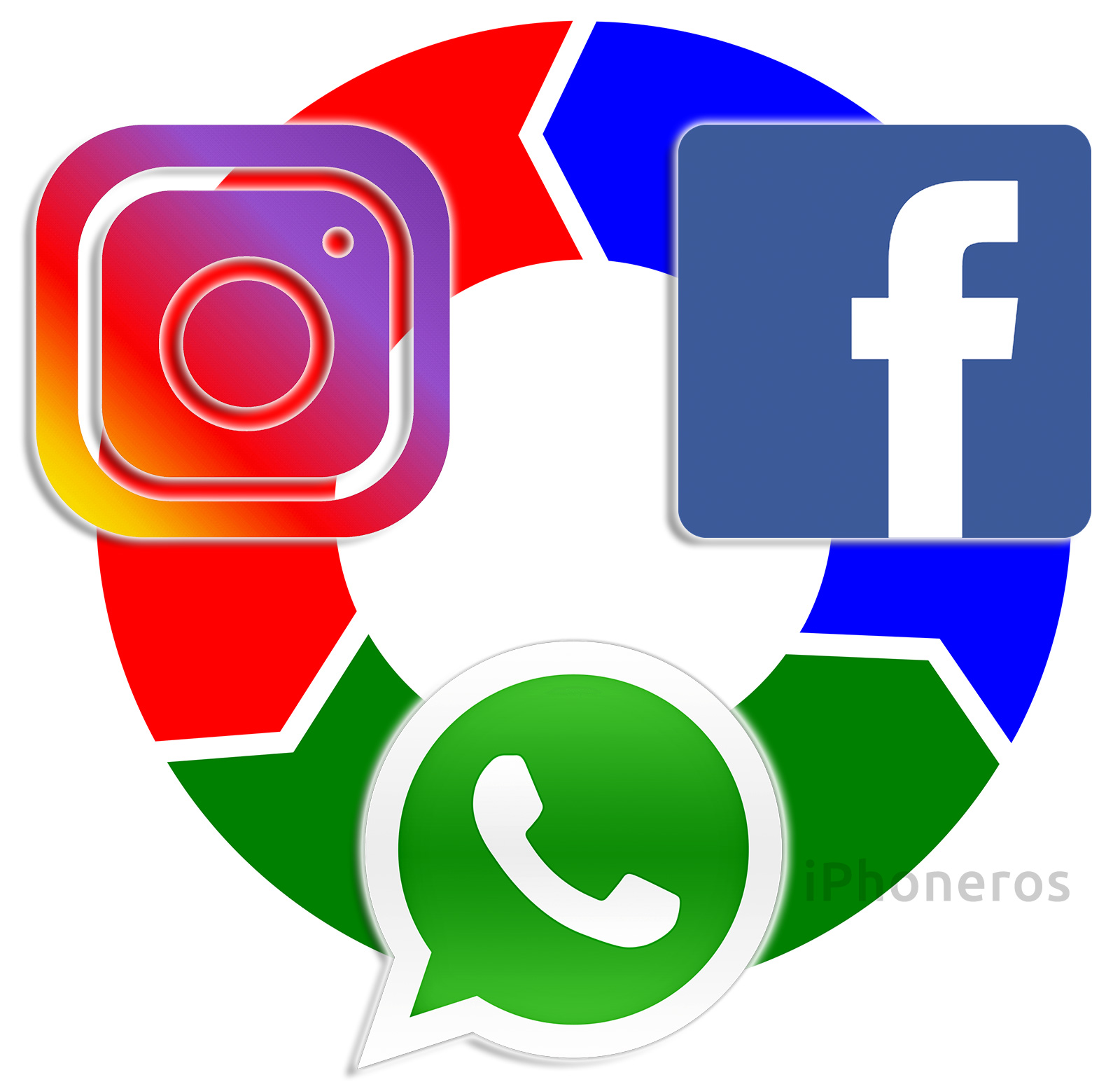 Logos de Instagram, Facebook y WhatsApp interconectados