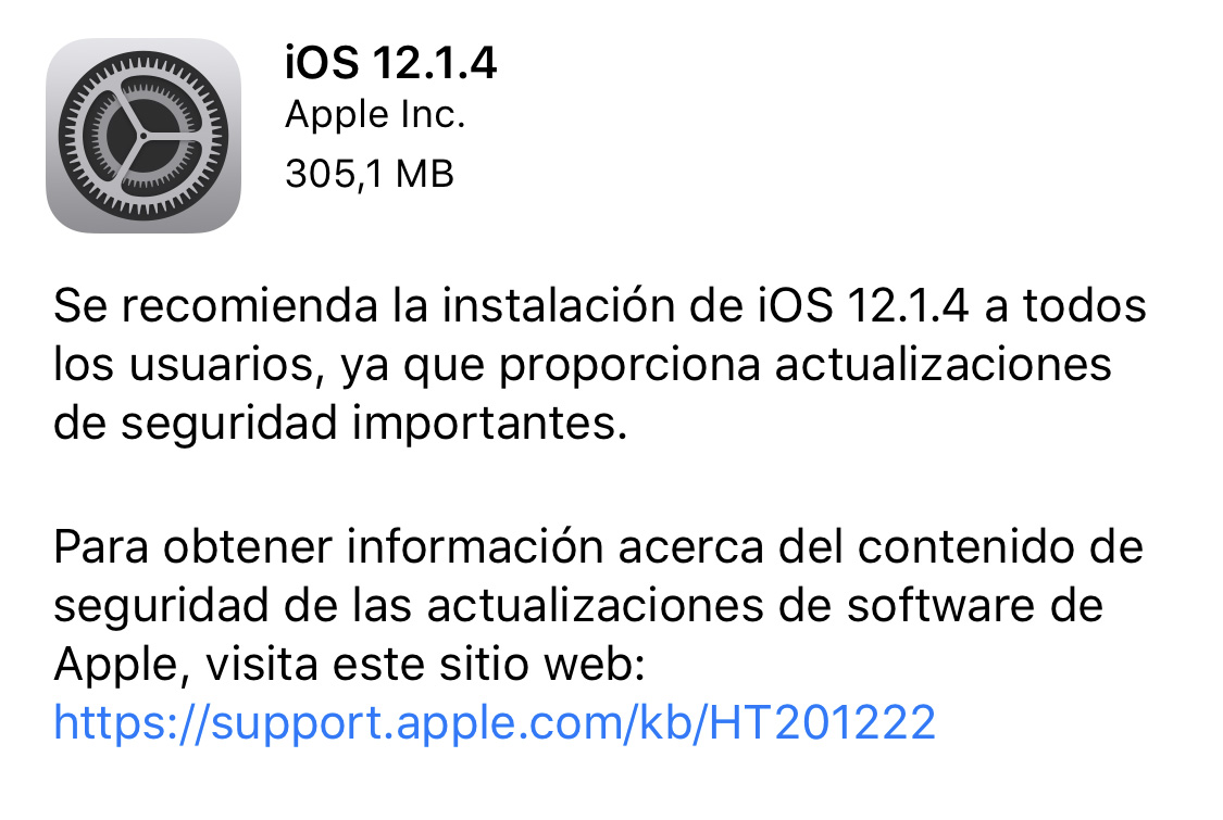 iOS 12.1.4 ya disponible