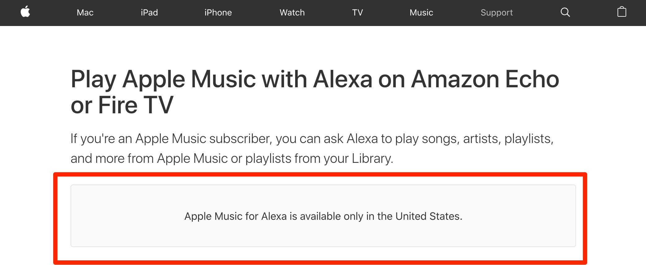 Aviso de que Apple Music para Echo y Fire TV sólo está disponible en EEUU