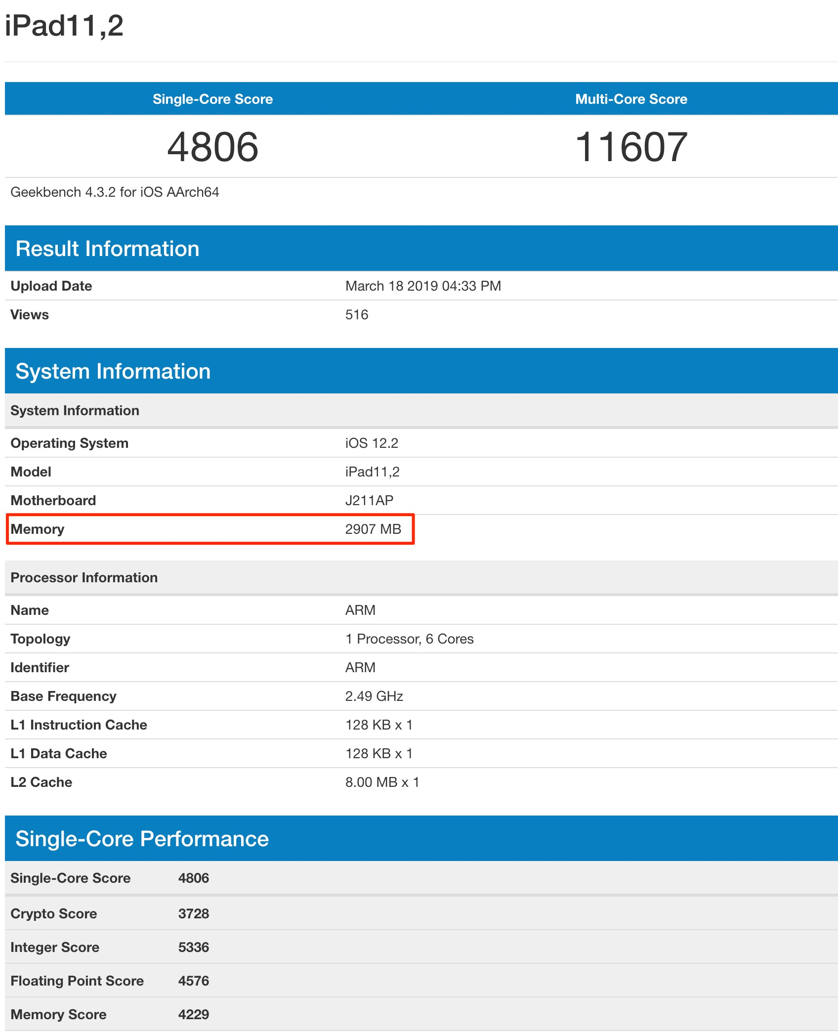 Benchmarks del iPad Air (2019) muestran 3 GB de RAM.