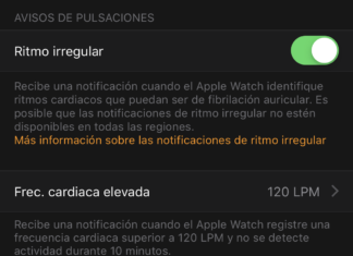 Notificaciones de ritmo irregular en la App de Apple Watch