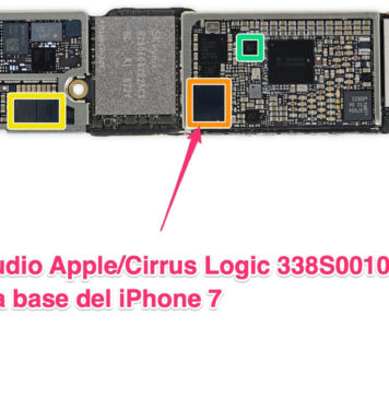 Chip de audio Apple/Cirrus Logic 338S00105 en la placa base del iPhone 7
