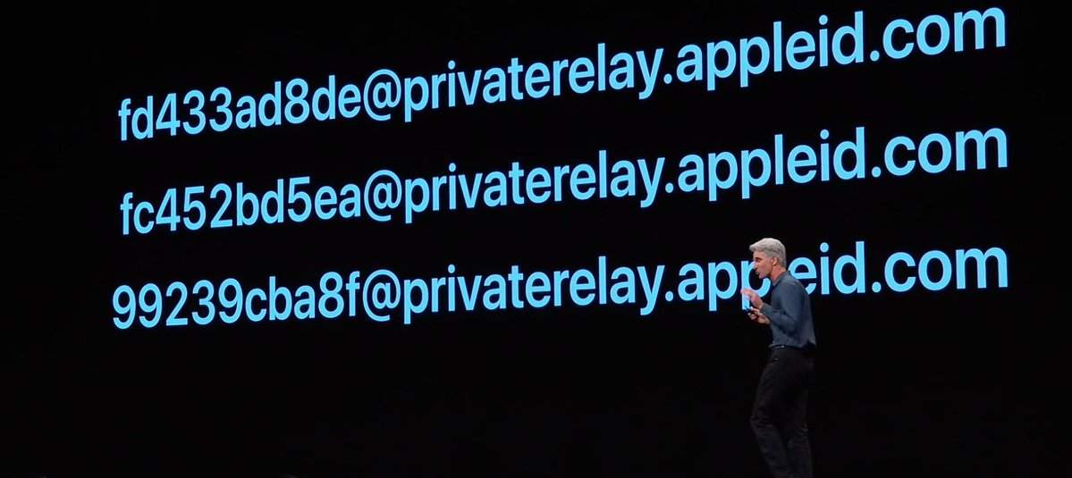 Múltiples emails dinámicos con Sign In de Apple durante la presentación de iOS 13 en la WWDC 2019