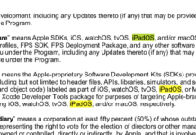 Mención a iPadOS en un documento de Apple