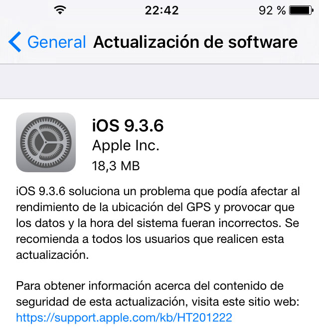 Actualización a iOS 9.3.6 en un iPhone 4S