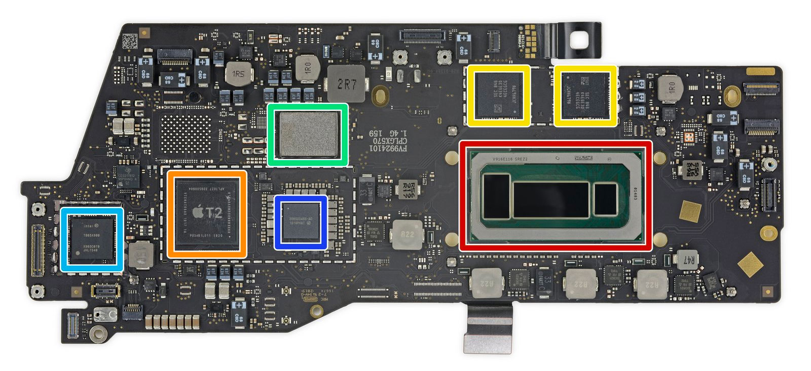 Placa base MacBook Pro de 13 pulgadas del 2019 por dentro