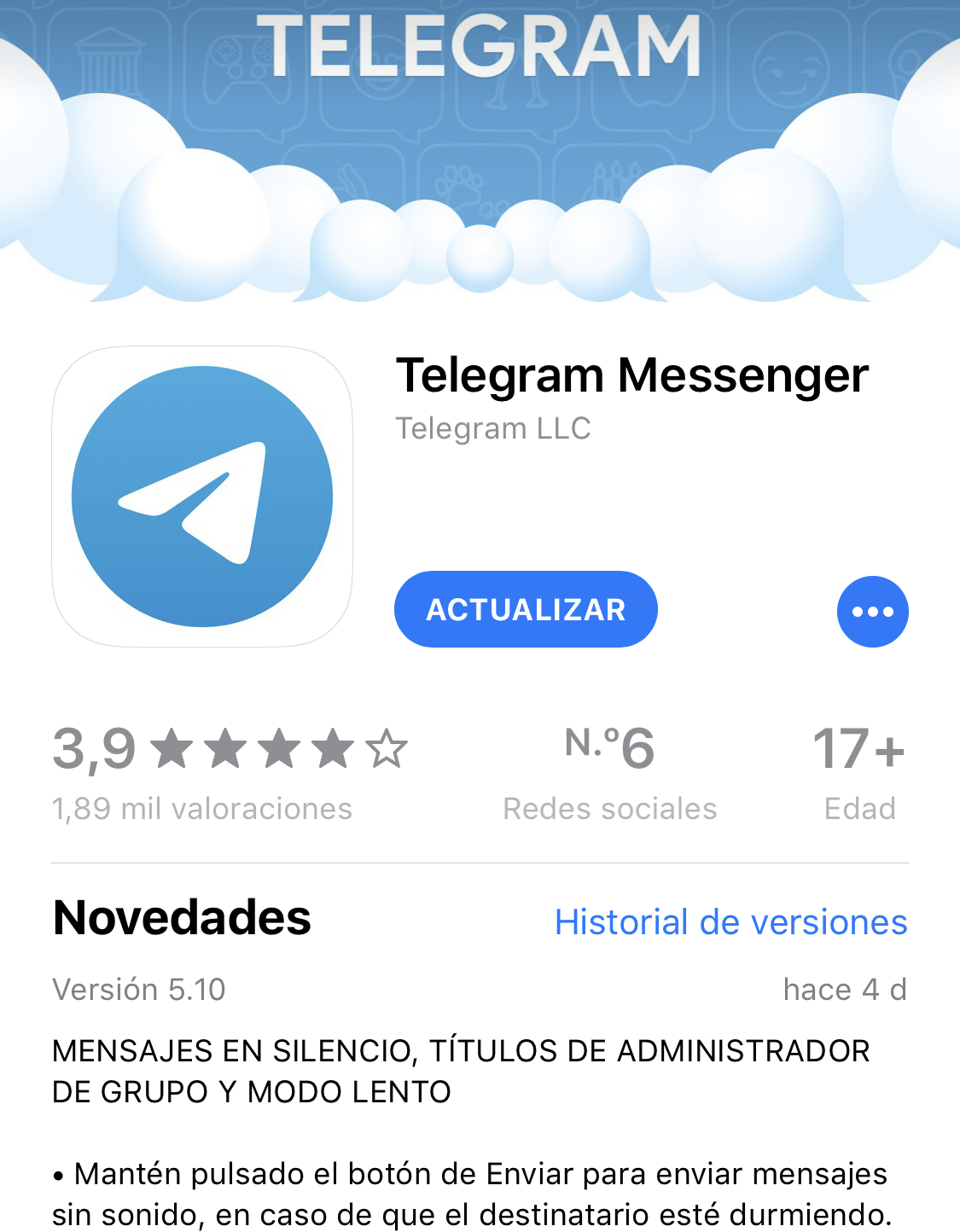 Version 5.10 de Telegram