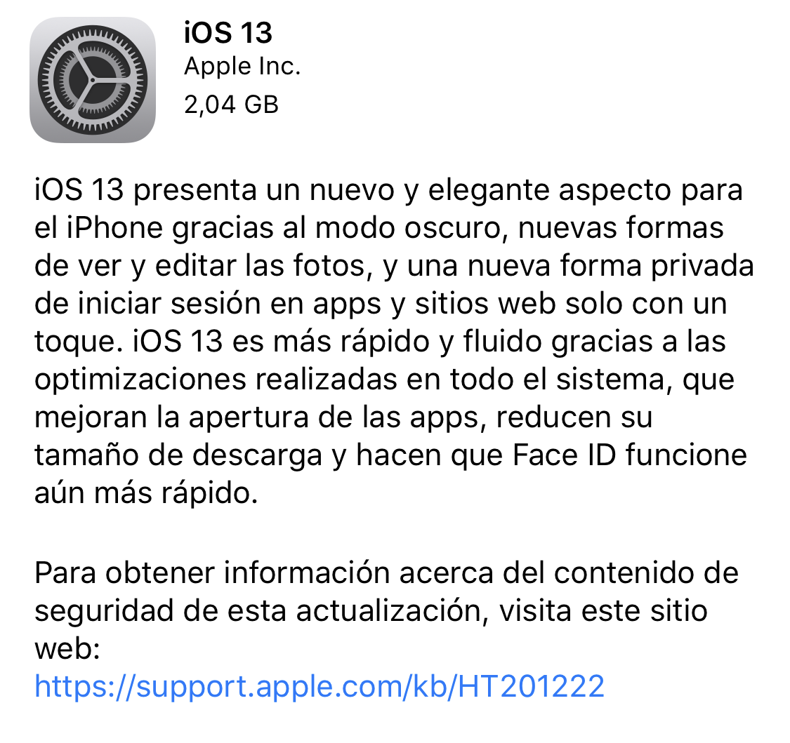 iOS 13 ya disponible