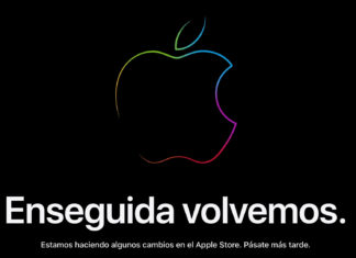 Cartel de enseguida volvemos en la web de Apple