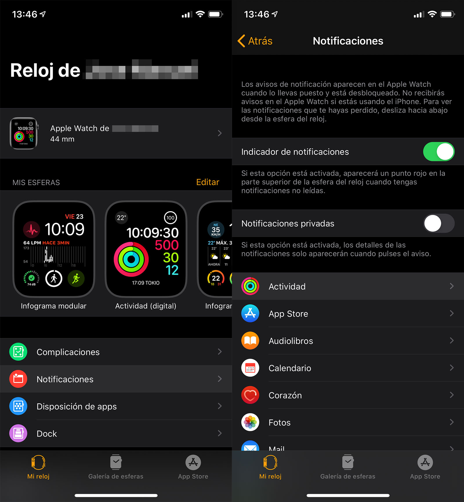 Notificaciones de Actividad del Apple Watch en la App del reloj
