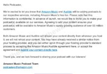 Email de Amazon para buscar podcasters