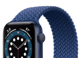 Correa Solo Loop sin cierre en un Apple Watch Series 6 azul