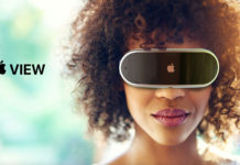 Concepto de diseño Apple View, gafas de realidad mixta aumentada o virtual de Apple